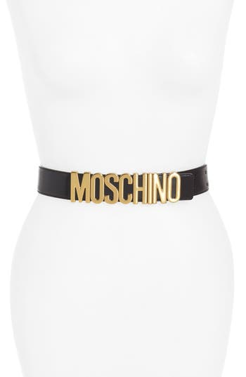Women's Moschino Logo Plate Leather Belt