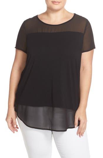 Plus Size Vince Camuto Chiffon Inset Knit Top