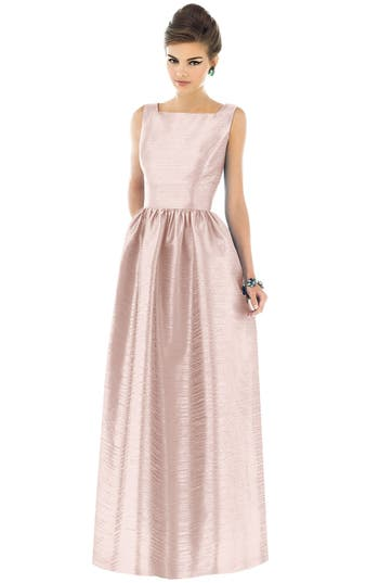 Alfred Sung Square Neck Dupioni Full Length Dress, Pink