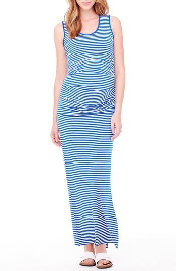 Ingrid & Isabel Striped Tank Maternity Maxi Dress, Blue