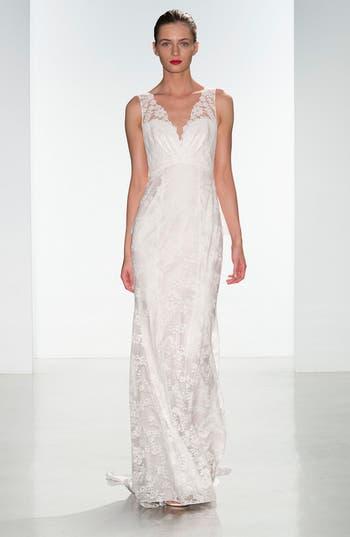 Nouvelle Amsale Dana Lace V-Neck Peplum Gown