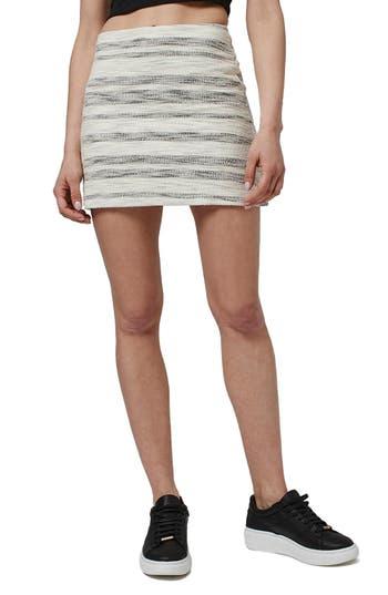 Topshop Stripe Boucle A-Line Miniskirt