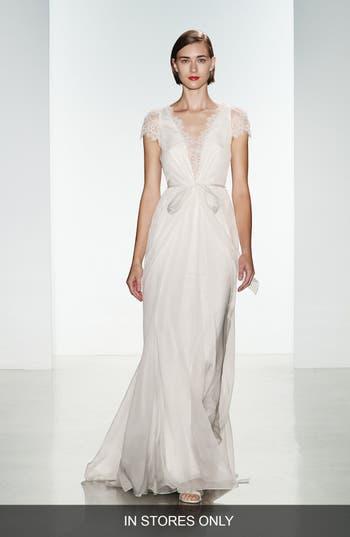 Women's Christos Bridal 'Lainee' Silk Chiffon & Lace Cap Sleeve Gown