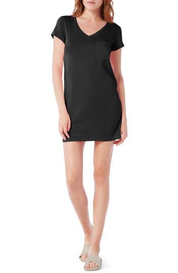 Petite Michael Stars V-Neck Jersey Minidress, Black