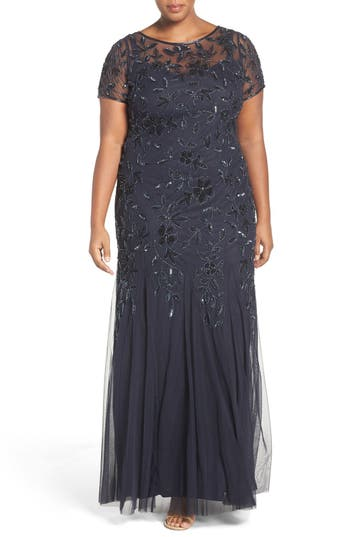 Plus Size Adrianna Papell Floral Beaded Godet Gown