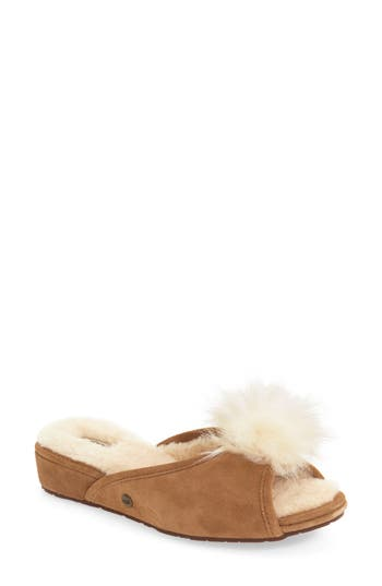 Ugg Yvett Open Toe Slipper With Genuine Shearling Pom, Brown