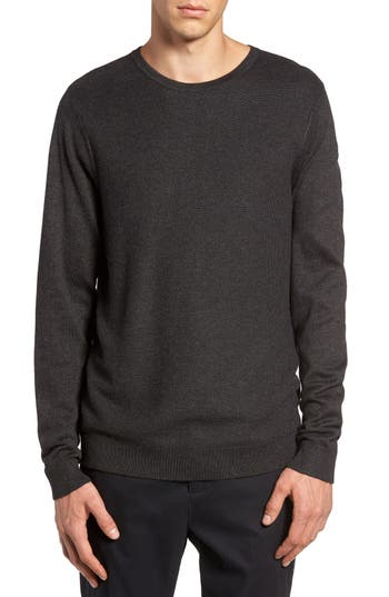 Calibrate Honeycomb Stitch Crewneck Sweater, Grey