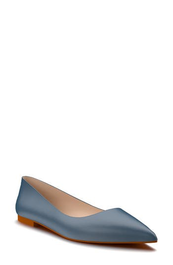 Shoes Of Prey Pointy Toe Flat, Blue