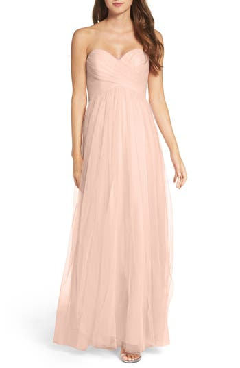 Wtoo Convertible Strap Tulle Gown, Beige