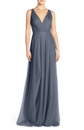 Monique Lhuillier Bridesmaids Back Cutout Pleat Tulle Gown, Blue