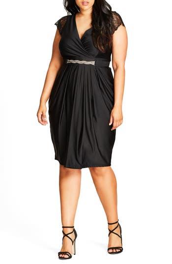 Plus Size City Chic Flirty Drape Belted Faux Wrap Dress