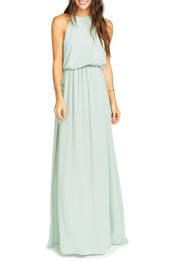 Women's Show Me Your Mumu Heather Chiffon Halter Gown, Size X-Large - Green