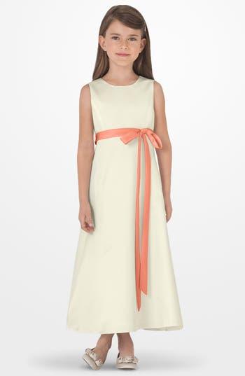 Girls Us Angels Sleeveless Satin Dress Size 6X  Coral