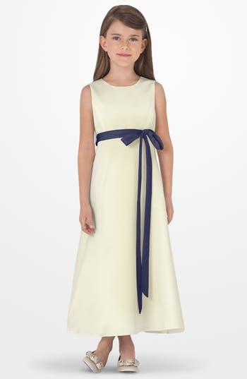 Girls Us Angels Sleeveless Satin Dress Size 6  Blue