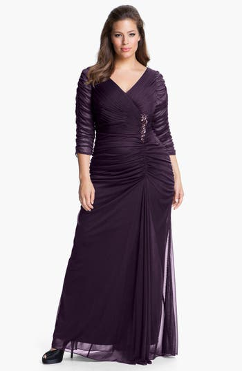 Plus Size Adrianna Papell Beaded Mesh Gown, Burgundy