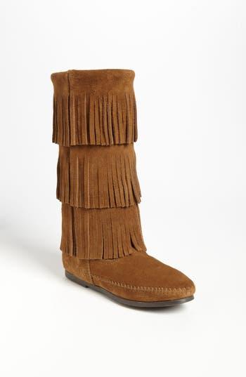 Minnetonka 3-Layer Fringe Boot, Brown