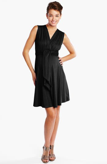 Maternal America Tie Front Maternity Dress, Black