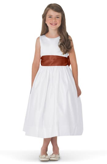 Girls Us Angels White Tank Dress With Satin Sash Size 8  Brown