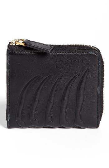 Men's Alexander Mcqueen Rib Cage Leather Half Zip Wallet - Black