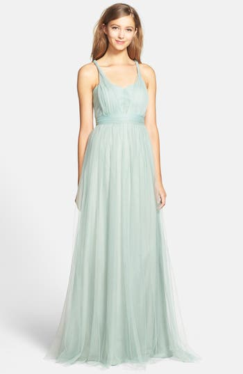 Jenny Yoo Annabelle Convertible Tulle Column Dress, Blue/green