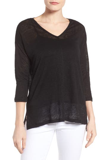 Two By Vince Camuto Seam Detail Linen Tee, Black