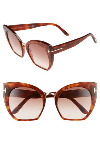 Tom Ford Samantha 55Mm Sunglasses - Blonde Havana/ Gradient Brown