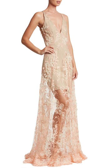 Dress The Population Sidney Lace Gown, Beige