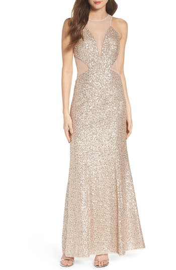 Aidan By Aidan Mattox Illusion Cutout Sequin Mermaid Gown
