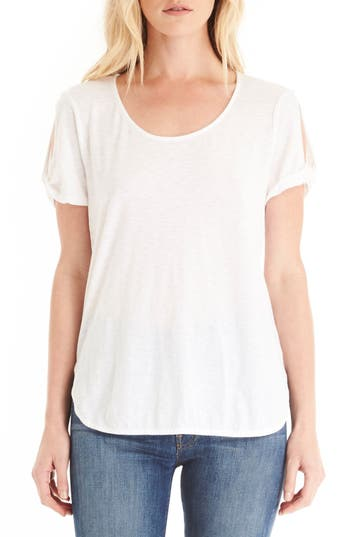 Michael Stars Twisted Slit Sleeve Tee, Size One Size - White