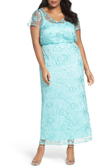 Plus Size Brianna Embellished Embroidered Blouson Gown