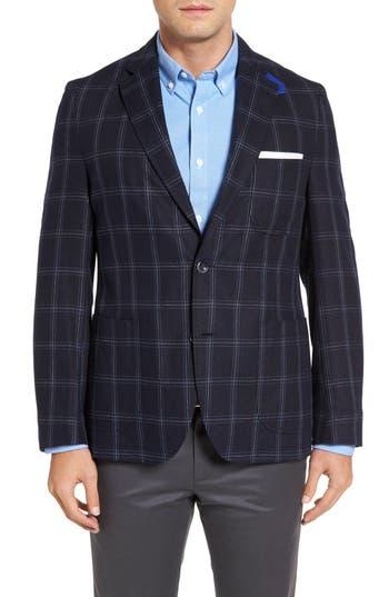 Kroon White Classic Fit Check Silk Sport Coat