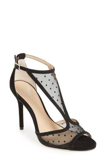 Jewel Badgley Mischka Horizon T-Strap Mesh Sandal, Black