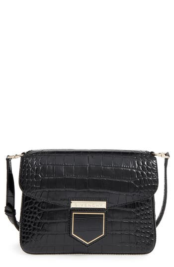 Givenchy Small Nobile Croc Embossed Leather Crossbody Bag - Black