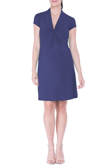 Olian Maternity Wrap Dress, Blue