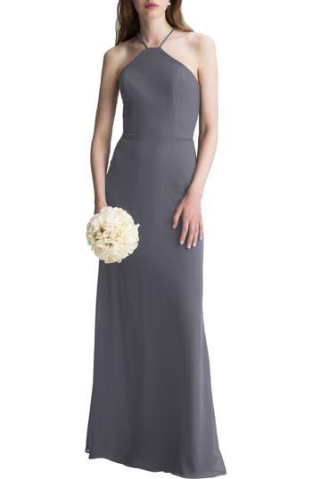 #levkoff High Neck Chiffon A-Line Gown, Grey