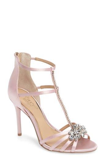 Jewel Badgley Mischka Hazel Embellished T-Strap Sandal, Pink