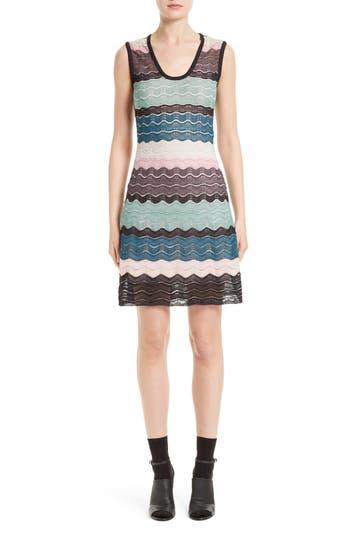 M Missoni Metallic Ripple Knit A-Line Dress