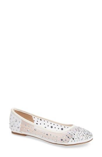 Lauren Lorraine Crystal Embellished Ballet Flat, White