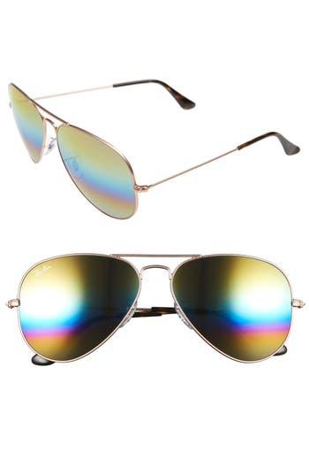 Ray-Ban Large Icons 62Mm Aviator Sunglasses - Yellow Multi Rainbow