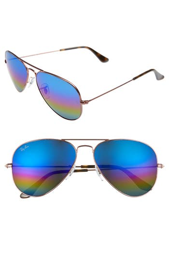 Ray-Ban Standard Icons 5m Mirrored Rainbow Aviator Sunglasses -