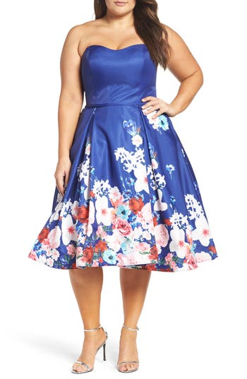 Plus Size MAC Duggal Floral Strapless Cocktail Dress