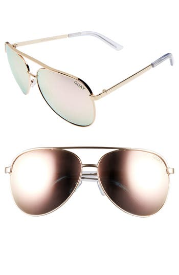 Quay Australia Vivienne Aviator Sunglasses - Gold / Rose Mirror