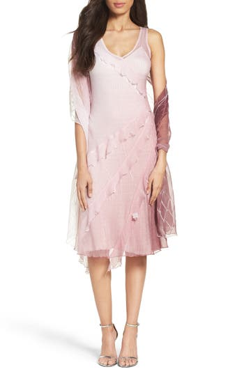 Komarov Chiffon Handkerchief Hem Dress With Shawl