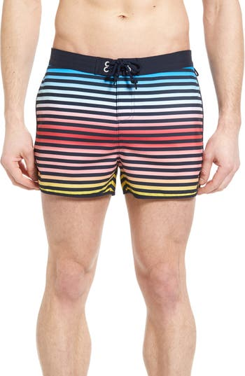 Big & Tall Original Penguin Ombre Stripe Volley Swim Trunks, Blue
