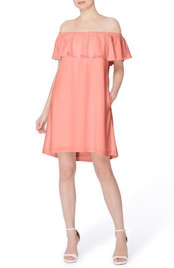 Catherine Catherine Malandrino Off The Shoulder Shift Dress, Pink