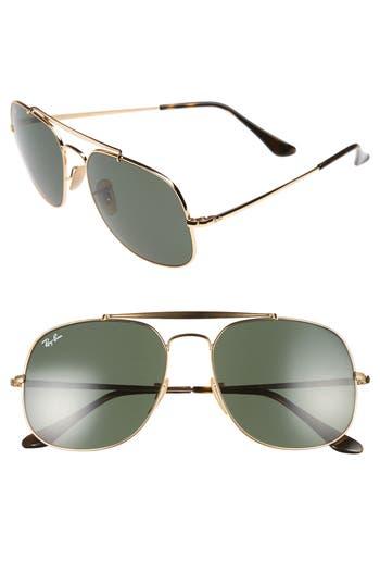 Ray-Ban 57Mm Aviator Sunglasses - Gold/ Green