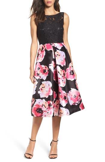 Women's Ellen Tracy Lace & Print Satin Midi Dress