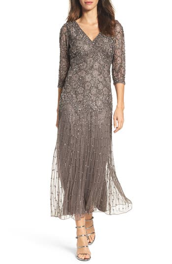 Pisarro Nights Beaded Mesh Dress, Grey