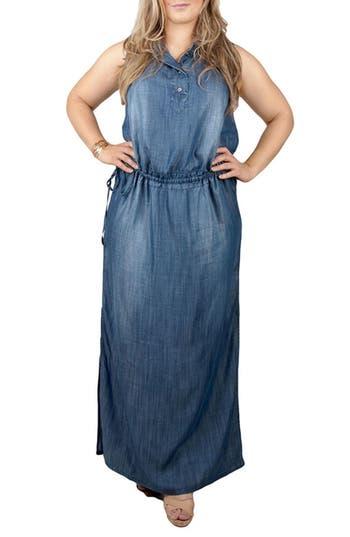 Plus Size Standards & Practices Makayla Denim Drawstring Maxi Dress