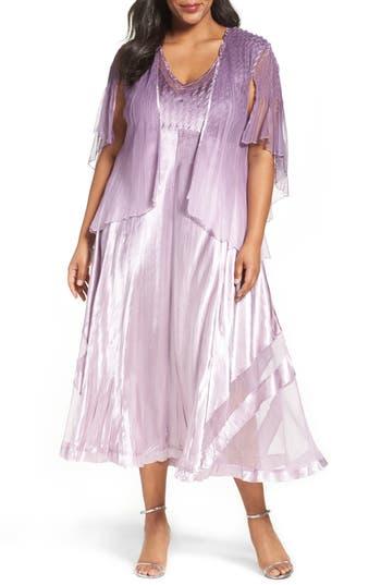 Plus Size Komarov Mixed Media A-Line Dress With Jacket, Purple